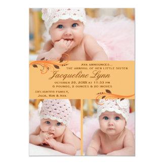 "Fall Flurry Photo Birth Announcement 5"" X 7"" Invitation Card"