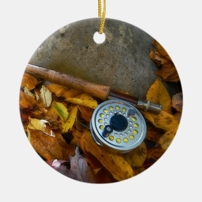 Fall Fly Fishing Rod Ceramic Ornament