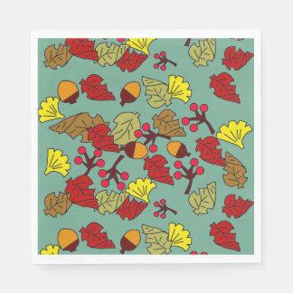 Fall Foliage, Acorns, and Berries Custom Color Paper Napkin