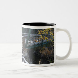 Fall foliage and a bridge over the Millers Two-Tone Coffee Mug
