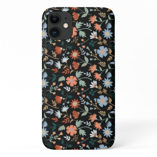 Fall Foliage And Leaf Print Black Orange Blue iPhone 11 Case