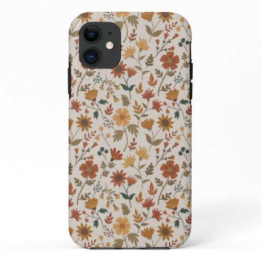 Fall Foliage And Leaf Print Gold Rust iPhone 11 Case