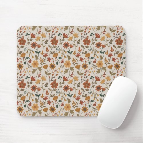 Fall Foliage And Leaf Print Gold Rust Mouse Pad