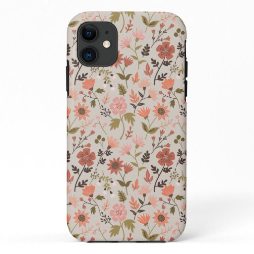 Fall Foliage And Leaf Print Pink iPhone 11 Case