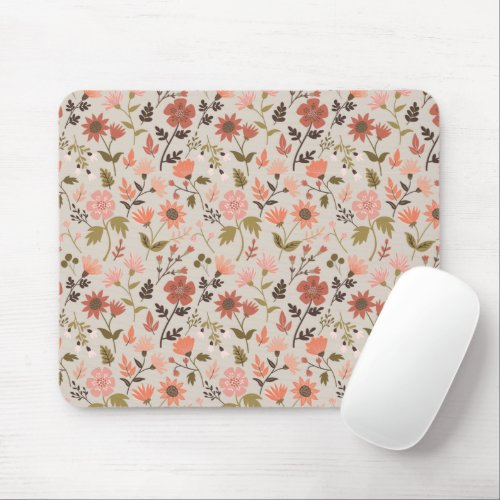 Fall Foliage And Leaf Print Pink Mouse Pad