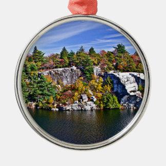 Fall Foliage around Lake Minnewaska Metal Ornament