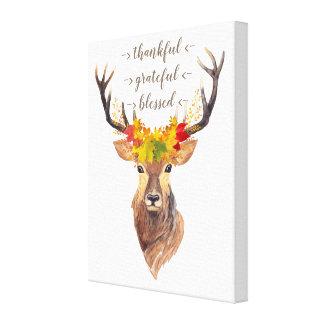Fall Foliage Deer Head Thanksgiving Monogram Canvas Print