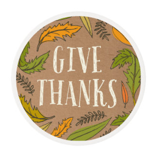 Fall Foliage Give Thanks Cupcake Frosting Round Edible Frosting Rounds