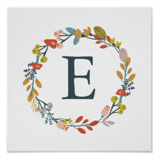 Fall Foliage Monogram Nursery Art Print