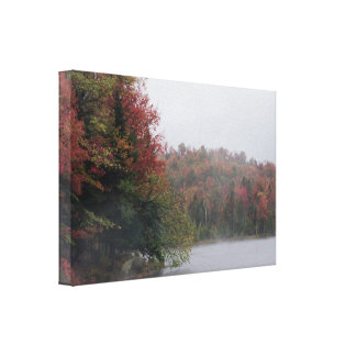 Fall Foliage on Lake Serene Canvas Prints