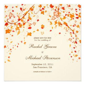 Fall Foliage Save the Date Wedding Card Custom Announcement