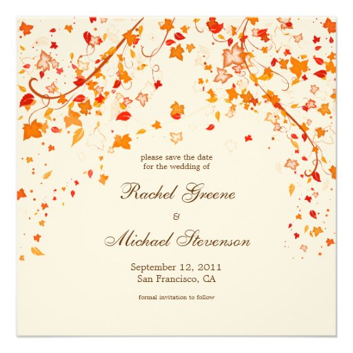 Fall Foliage Save The Date Wedding Card Square Invitation Card Z