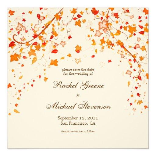 Fall Foliage Save The Date Wedding Card Square Invitation Card Z