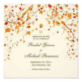 "Fall Foliage Save the Date Wedding Card 5.25"" Square Invitation Card"