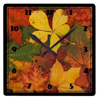 Fall Foliage Square Wall Clock