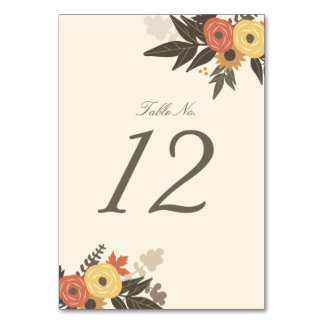 Fall Foliage Table Number Card Table Card