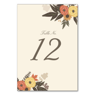 Fall Foliage Table Number Cards Table Cards