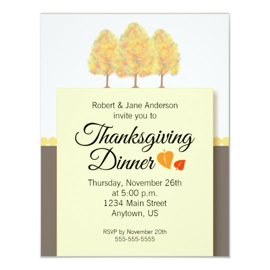Fall Foliage Thanksgiving Dinner Card