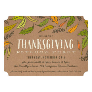 Fall Foliage Thanksgiving Dinner Party Invitation