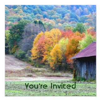 """Fall Foliage Tobacco Barn Square Invitation 5.25"""" Square Invitation Card"""