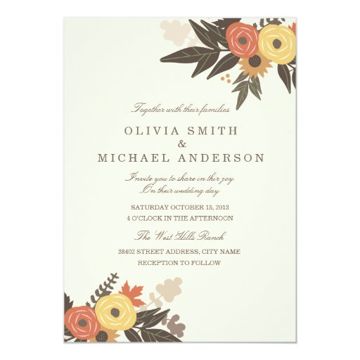 "Fall Foliage Wedding Invitation 5"" X 7"" Invitation Card"