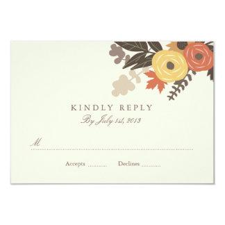 """Fall Foliage Wedding RSVP 3.5"""" X 5"""" Invitation Card"""