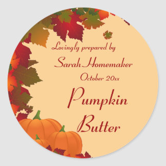 Fall Foliage with Pumpkins Round Canning Classic Round Sticker