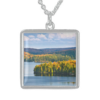 Fall forest and lake personalized necklace