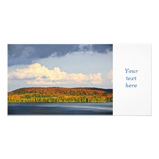 Fall forest and lake photo card template