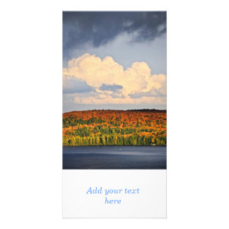 Fall forest and lake photo card