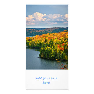 Fall forest and lake customized photo card