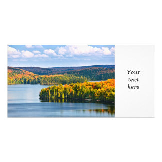 Fall forest and lake picture card