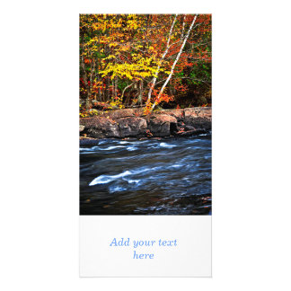 Fall forest and river landscape custom photo card