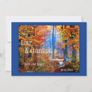 Fall Forest Custom Photo Wedding Thank You Card