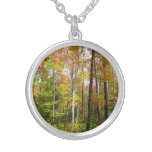 Fall Forest I Autumn Landscape Photography Silver Plated Necklace