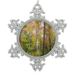 Fall Forest I Autumn Landscape Photography Snowflake Pewter Christmas Ornament
