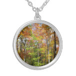 Fall Forest II Autumn Landscape Photography Silver Plated Necklace