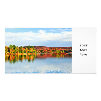 Fall forest reflections 2 customized photo card