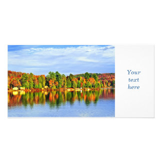Fall forest reflections personalized photo card