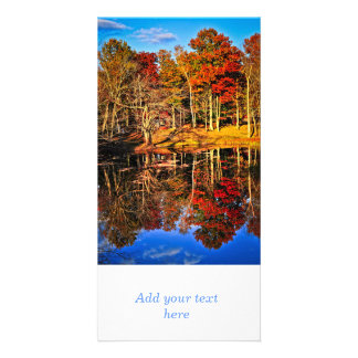Fall forest reflections customized photo card
