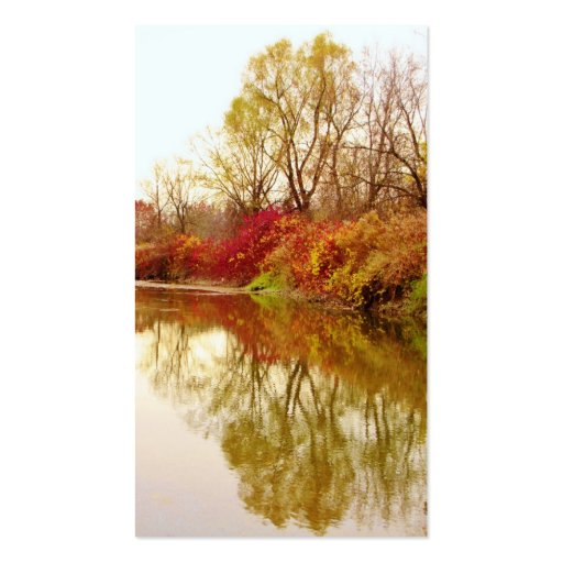 Fall Forest River Scene Business Card Templates