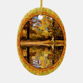 Fall forest with digital pond in frame of leaves christmas ornaments