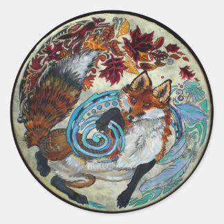 Fall Fox Painting Classic Round Sticker