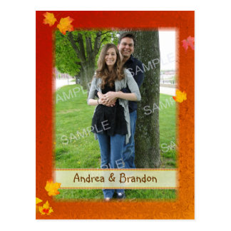 Fall Frame Photo Engagement Notice Cards