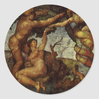 Fall from the Garden of Eden by Michelangelo Classic Round Sticker