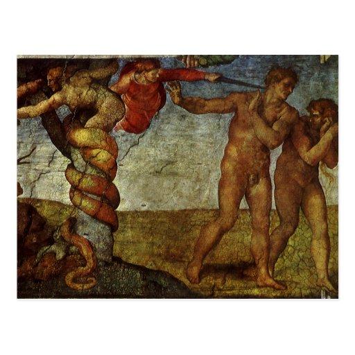 Fall from the Garden of Eden, Fresco, Michelangelo Post Cards