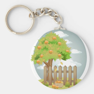 Fall Fruit Tree and Fence Key Chains