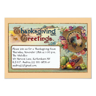 Fall Fruits and Turkey Vintage Thanksgiving 3.5x5 Paper Invitation Card