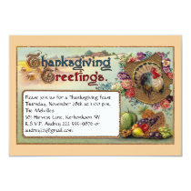Fall Fruits and Turkey Vintage Thanksgiving Card