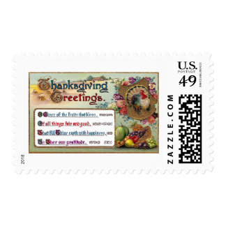 Fall Fruits and Turkey Vintage Thanksgiving Postage Stamps